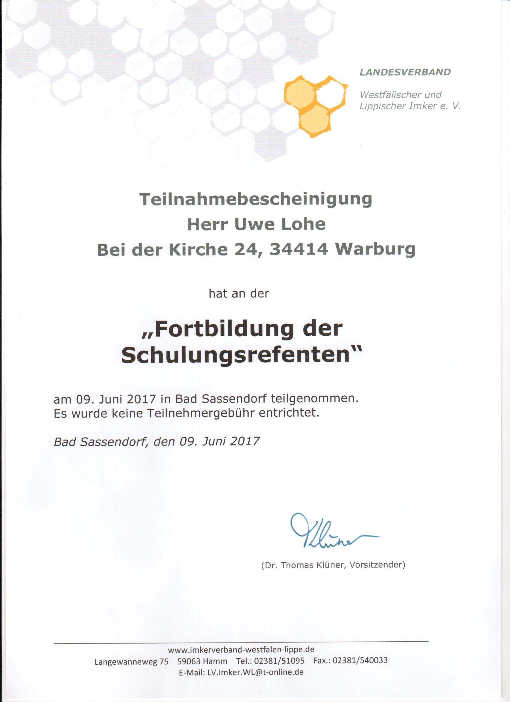 Schulungsreferent 2017